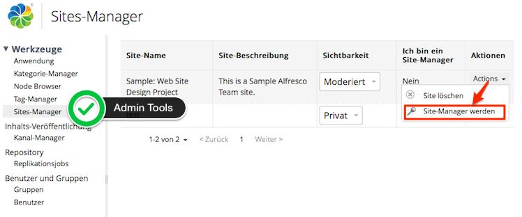 Alfresco Share Admin-Tool Site-Manager